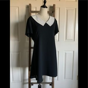 Vtg Rampage Peter Pan Collar Black Shift Dress